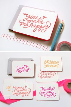 We have a new card set that we made exclusively for Anthropologie. Each set contains 6 hand-lettered neon sentiments with painted edges. Available at an Anthropologie near you or online.