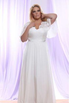 #weddingdresses   Brocade Chiffon Plus Size Wedding Dress with Empire Waist  Short Sleeve Plus Size Wedding Dresses  www.dariuscordell.com/featured/plus-size-wedding-dresses-bridal-gowns/
