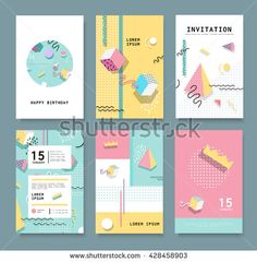 Set Memphis cards for congratulations. Hipster poster, juicy, bright color…