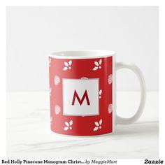 Red Holly Pinecone Monogram Christmas Mug