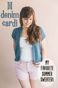 Crochet Gift Design My new short sleeve cardigan is great for summer! Its lightweight yarn and slightly cropped length is everything you need to keep cool. Knit Cardigan Pattern, Crochet Cardigan Pattern, Crochet Jacket, Knit Crochet, Crochet Sweaters, Crochet Tops, Crochet Vests, Cardigan Sweaters, Crochet Summer