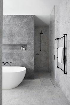 bathroom Ideas for a Minimalist Bathroom Design– Are you and your bathroom the right candidates for a sleek minimalist setting?Ideas for a Minimalist Bathroom Design– Are you and your bathroom the right candidates for a sleek minimalist setting? Grey Bathrooms Designs, Modern Bathroom Design, Contemporary Bathrooms, Bathroom Interior Design, Modern Contemporary, Bath Design, Grey Interior Design, Condo Interior, Interior Ideas