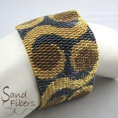 Peyote Pattern Night Moves Peyote Cuff / Bracelet by SandFibers