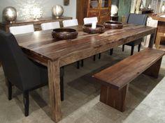 table à manger de 220 cm en bois d'acacia non traité et pieds en ... - Mobilier De Cuisine En Bois Massif
