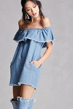 Denim Flounce Mini Dress
