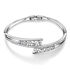 CloseoutWarehouse Cubic Zirconia Double Circles Wire Bangle Bracelet Rhodium Plated Sterling Silver