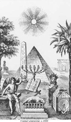 """Franc-Maçonnerie : """"La Fraternité"""" - Les Francs-maçons considèrent être les héritiers des connaissances & du savoir-faire des grands bâtisseurs du passé, qu'il s'agisse des constructeurs des pyramides d'Égypte, du Temple de Salomon à Jérusalem, ou encore des Cathédrales. Ainsi, plusieurs symboles maçonniques, tels que la pyramide ou l'obélisque que l'on peut voir sur cette illustration, font directement référence au talent des architectes de l'Égypte antique."""