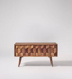 Swoon Editions Media unit, mid-century style in mango wood - £269