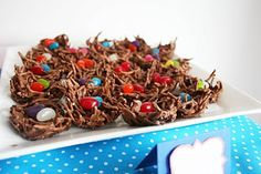 Woodland party treats - Chocolate nests with jelly bean eggs
