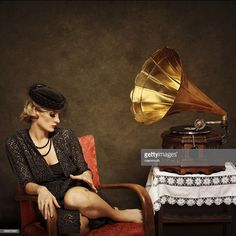 View top-quality stock photos of Retro Woman Listening To Music On Gramophone. Find premium, high-resolution stock photography at Getty Images. Sheet Music Art, Rockabilly Cars, Old School Music, Vinyl Junkies, Rose Gold Hair, Roaring Twenties, Listening To Music, Retro, Image Now
