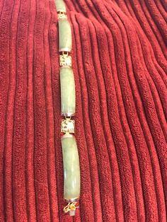 "Green Genuine Jade 14k Yellow Gold Macaroni-Link Bracelet 7 1/4"""