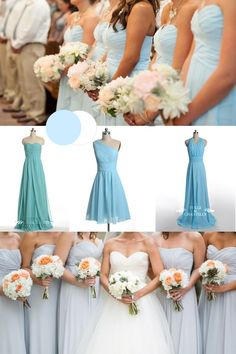 winter wedding color trends: ice blue winter bridesmaid dresses 2014 -Pretty much the colors I want. Though dusky blue would also work Winter Bridesmaid Dresses, Winter Bridesmaids, Blue Bridesmaids, Wedding Dresses, Wedding Bouquets, Winter Maternity Outfits, Winter Outfits Women, Winter Wedding Colors, Wedding Colours