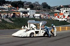 """Hall's 2H was originally supposed to be ready for the 1968 Can-Am season. It wasn't ready. It wasn't even close to ready. This was the first """"stinker"""" put forth by Chaparral. It was disliked by its driver and left most Chaparral fans talking to themselves. It was among the more unusual looking Can-Am cars. Author undetermined."""