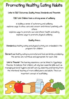 Posters / Signs :: Promoting Healthy Eating - An EYLF Resource Pack Healthy Eating Posters, Healthy Eating Pyramid, Healthy Eating For Kids, Healthy Eating Habits, Eylf Learning Outcomes, Learning Stories Examples, Teaching Packs, Crockpot, Emergent Curriculum