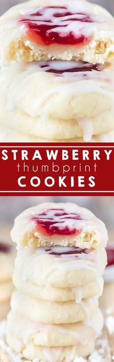 Strawberry Thumbprint Cookies I Almond Cookies I Butter Cookies I Jam Cookies I Jelly I Christmas Cookies I Old Fashioned #thumbprintcookies #christmascookies #strawberry