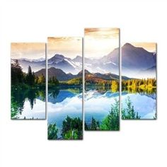Mountain Forest Lake 4-Panel Wall Art Canvas Print Picture- Free Shipping