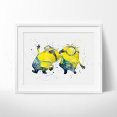 Minion Watercolor Art. This art illustration is a composition of digital watercolor images and silhouettes in a minimalist style.