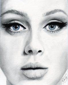 """A DRAWING of Adele, done with charcoal. Check out my """"Artwork"""" board for more of my drawings!"""
