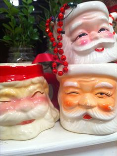 Ready for hot chocolate and hot buttered rum! The vintage Santa mug collection comes down from the attic. Photo: Kathe Fraga, 2013