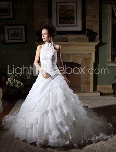 A-line Halter Cathedral Train Organza Taffeta Tiered Wedding Dress