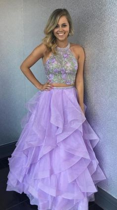 Two Piece Homecoming Dress, Sexy Sleeveless A Line Prom Dresses, Long Prom Dresses