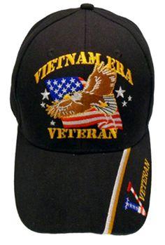 f24f6dee3ed8bc Vietnam ERA Veteran Baseball Cap Black Military Hat Vet with Eagle American  Flag Bill