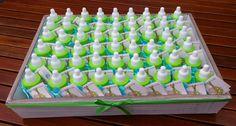 Papflesjes gevuld met chocolade dragees