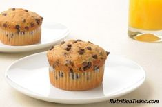 Banana Chocolate Chip Muffins |  Intoxicating & ONLY 110 Calories |  Great way to indulge and stay slim :), Enjoy! | For MORE RECIPES like this please SIGN UP for our FREE newsletter www.NutritionTwins.com