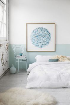 white  sky and mint blue bedroom as color scheme for the bath