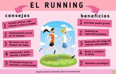 Consejos y beneficios del running: Correr es una terapia excelente para el estrés, además de ser una actividad saludable al alcance de todos. ¡Es cuestión de calzarse las zapatillas y disfrutar sus múltiples beneficios! #Running #Infografía Blog, Health Fitness, Running, Ecuador, Diets, Workouts, Twitter, Google, Physical Activities