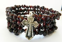 Wire Wrap Bracelet-4 Rows of Red Garnet Chip Stones-Religious Cross Charm by rosaliascharm on Etsy