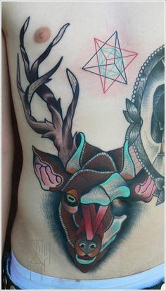 Deer, stomach tattoo on TattooChief.com