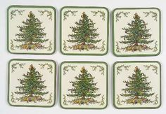 """Spode Christmas Tree Square 4"""" Coasters by Spode"""