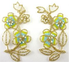 """Flower Pair with Yellow and turquoise and Gold Beads and AB Rhinestones 5"""" x 2.5"""""""