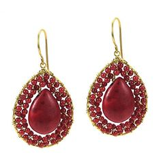 Mosaic Teardrop Reconstructed Red Coral Stone Handmade Brass Earrings >>> Want additional info? Click on the image.