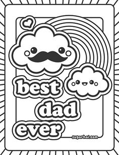 free best dad ever coloring page - Kawaii Coloring Pages