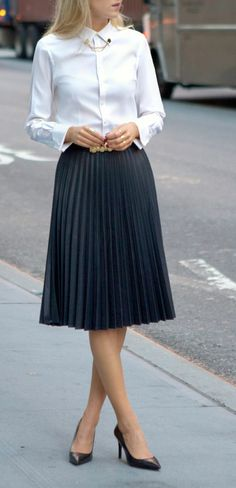 zara coated pleated midi skirt gold circle collar tips pins asos faux leather pleated skirt brooks brothers non iron stretch tailored oxford white shirt Fashion Mode, Nyc Fashion, Office Fashion, Work Fashion, Autumn Fashion, Womens Fashion, Street Fashion, Pleated Skirt Outfit, Skirt Outfits