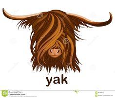 Глава Яка С Длинными Волосами. Стоковые Векторные Изображения: 88160972