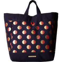Tommy Hilfiger Jean - Metallic Dot Canvas Tote (Navy/Red) Tote... ($25) ❤ liked on Polyvore featuring bags, handbags, tote bags, multi, red tote bag, navy blue purse, canvas tote bag, red tote and blue tote bag