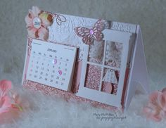 Beautiful Memory Box Poppystamp desk calendar by Mary McMillan. Simple Pleasures Rubber Stamps and Scrapbooking. Calendar Notes, Diy Calendar, Desk Calendars, Kalender Design, Post It Note Holders, Washi Tape Cards, Window Cards, Scrapbooking, Easel Cards