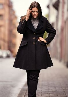 30bb02b2737b22 Victoria Wool-Blend Coat by Ellos® | Plus Size Outerwear | Woman Within  Cardigan