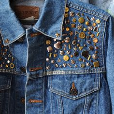 denim with gold studs and accents