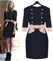 Navy Double Breasted Celebrity Designer 3/4 Sleeve Belted Dress