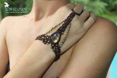 Golden labradorite macrame slave bracelet by UnicornMac on Etsy