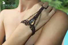 Golden labradorite macrame slave bracelet by UnicornMac on Etsy