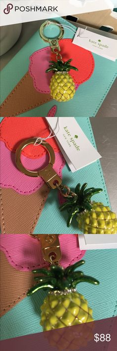 Kate Spade  Keychain 12k gold plated metal with enamel coating and Pave crystals. Sold out on many sites. [CA.A13]. Trades. kate spade Accessories Key & Card Holders
