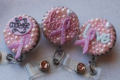 ID Badge Reels....visit www.zipperedheart.etsy.com Breast Cancer Support, Breast Cancer Awareness, Remembering Mom, Pink October, Beat Cancer, Biscuit, Id Badge Reels, Badge Holders, Crochet Earrings
