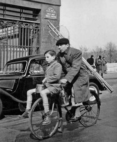 """Off fishing with dad!"" - Paris 1953..Photo by Robert Doisneau.."