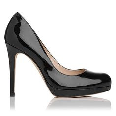 Sledge is a forever favorite heel, worn by some of the world s most glamorous women. Crafted in luxurious gloss patent leather, it has an almond toe, slim high heel and slight platform, creating a beautiful silhouette. An effortlessly elegant heel to take you from desk-to-dinner, drinks and events in polished style.