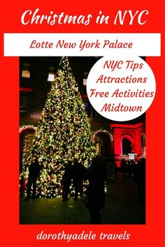 This post includes #NYC tips, and free things to do during Christmas in New York City. Best place to stay is #midtown at the Lotte New York Palace that's within walking distance of attractions like Rockefeller Center, Radio City Music Hall, Saks Fifth Avenue, Bergdorf Goodmen, and Central Park. For a unique experience try Ellens Stardust Diner where the waitstaff serves you then breaks into song. #Christmas #holidays #Christmastree #rockefellercenter #families #itinerary #lottenewyorkpalace